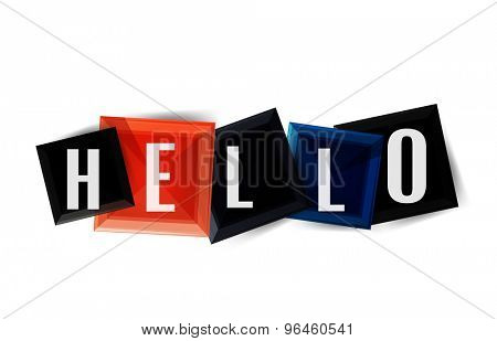 Hello word button banner or squares. Modern geometric icon design isolated on white
