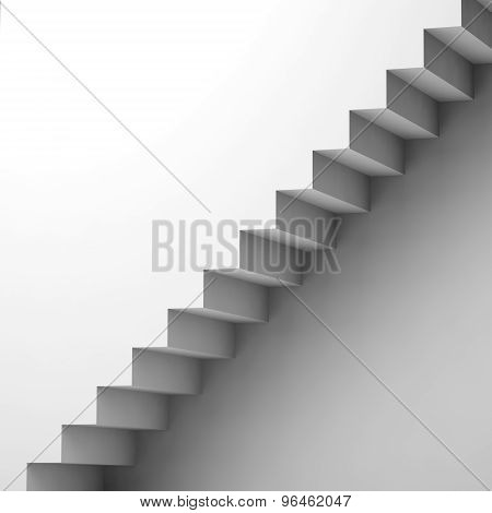White Stairway And Wall, 3D Interior Fragment