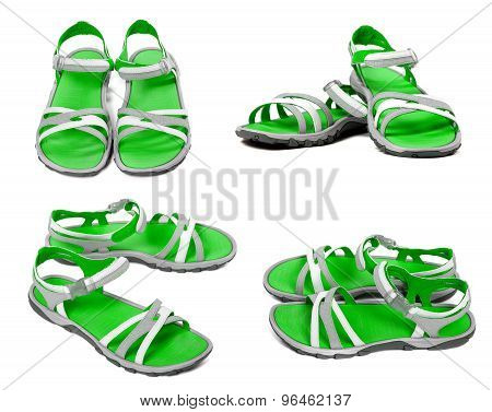 Set Of Green Summer Sandals