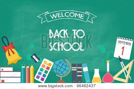 Horizontal Banner, Background, Poster From The School And Education Icons. Back To School. Flat Desi