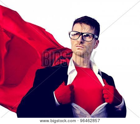 Superhero Businessman Professional Success White Collar Worker Concept