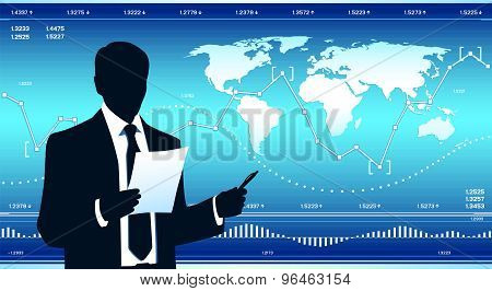 Modern businessman with financial