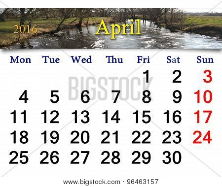 Calendar For April 2016 With Image Of Flood