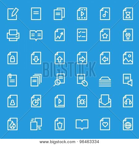 Document icons, simple and thin line design