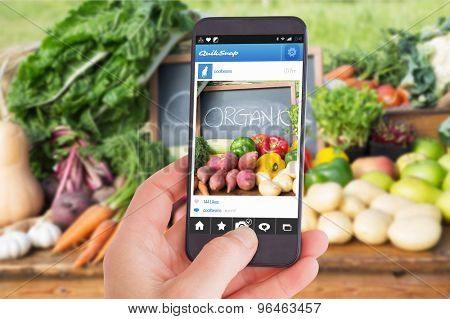 Female hand holding a smartphone against table of fresh produce at market