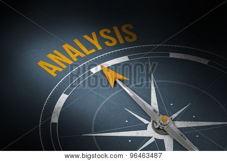 The word analysis and compass against grey