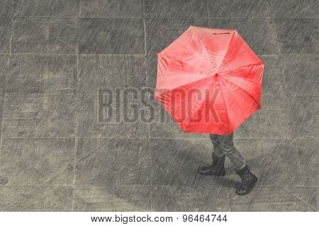 Girl Walk With Umbrella In Rain On Pavement Artistic Conversion