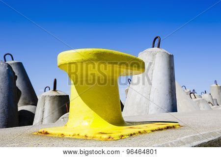 Mooring Bollard Painted In Yellow