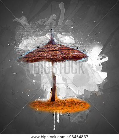 Simple scene with straw umbrella
