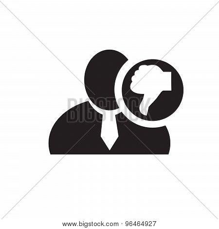 Black Man Silhouette Icon With Thumb Down Symbol In An Information Circle, Flat Design Icon For Foru