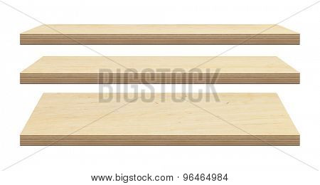 Wooden shelves made of plywood isolated on white background