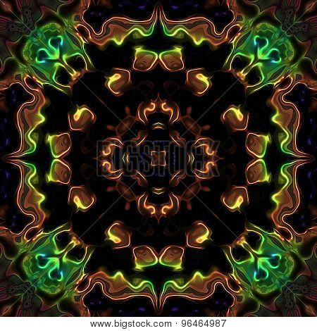 Abstract Bronze Metallic Flower Flame Pattern With Green Devil Heads Made Seamless