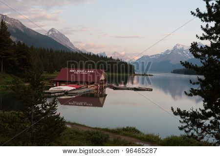 Maligne Lake In Jasper National Park, Alberta, Canada  -  Stock Image