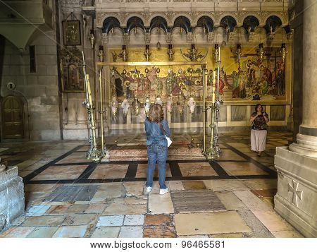 Stone Of The Anointing Of Jesus In The Holy Sepulchre, The Holiest Place Of Christians