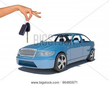 Hand holding keys and blue car