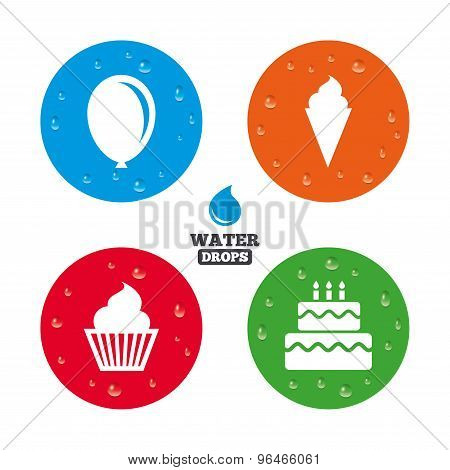 Birthday party icons. Cake with ice cream symbol