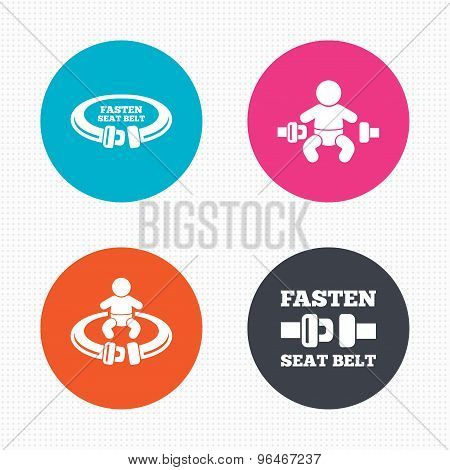 Fasten seat belt signs. Child safety in accident