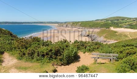 Sandy beach and blue sea in summer at The Gower peninsula South Wales UK by Three Cliffs B