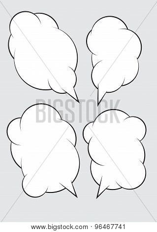 Set Of 4 Abstract Talking Bubbles With White Fill.