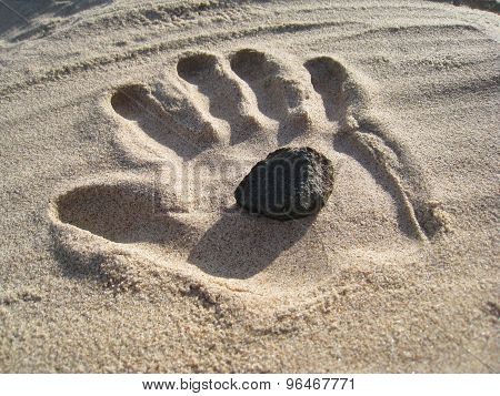 Stone in the Sand Hand