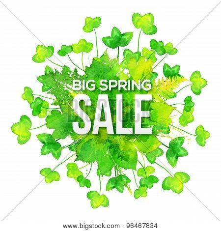 Green watercolor clovers spring sale banner