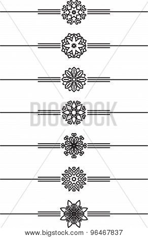 Set Of 7 Decorative Vector Mono Line Style Text Dividers - Decorative Elements.