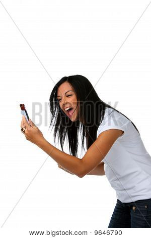 Young Woman With A Pleasing Sms