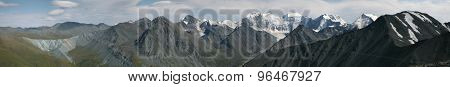 Belukha Mountain (4,506 m) and the Katun Range in the Altai Mountains, Russia. Panorama from Karaturek Pass (3,060 m).