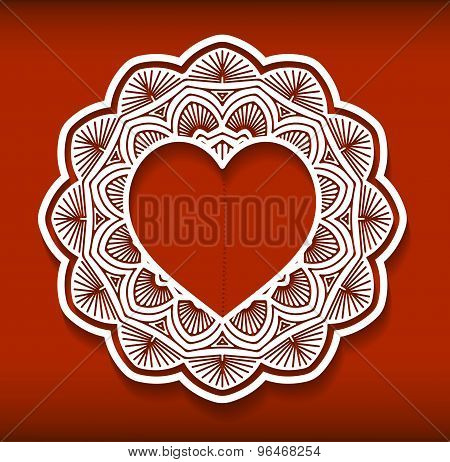 Circle Lace Ornament, Round Ornamental Geometric Doily Pattern With Heart Shaped Empty Space For Tex