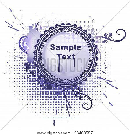 Round Vector Frame In Grunge Style On Blue-violet Background And Empty Space For Your Text.