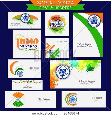 Social media post and header with tricolor elements for Indian Independence Day celebration.