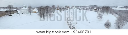 Russian winter. St Nicholas' Church and the Izborsk Fortress near Pskov, Russia.