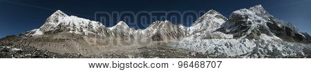 Panorama from the Everest Base Camp (5,364 m) with the Khumbu Glacier in Khumbu region, Himalayas, Nepal.