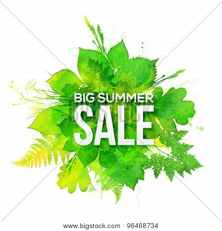 Green watercolor foliage Big Summer Sale banner