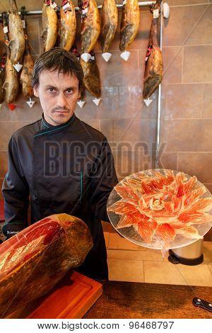 Jamon Iberico, Spanish Ham, With Man
