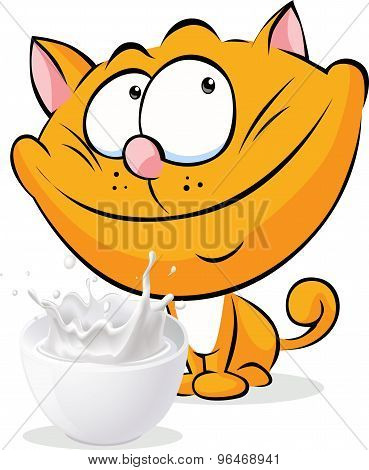 Cute Ginger Cat Sitting Isolated With Milk - Vector Cartoon