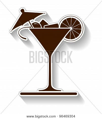 Wine Glass Of Martini Vector Design With Outline And Shadow