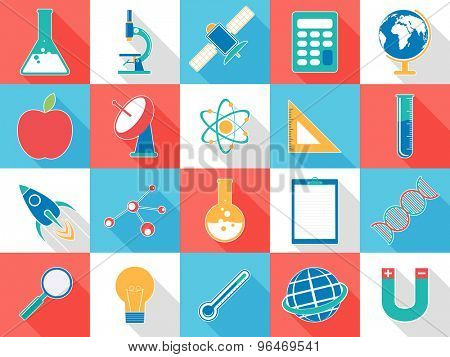 Set of various colorful signs and symbols based on science concept.