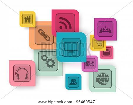 Set of colorful web icons on shiny background for technology concept.
