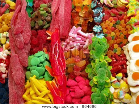 Colorful Sweets In A Snack Stall