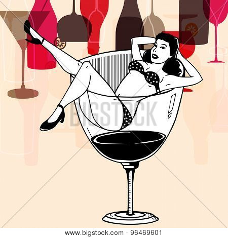 Creative black and white illustration of a young retro girl in a big drinking glass on colorful vintage background.