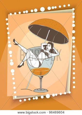 Stylish flyer, banner or template with young retro girl in a big drinking glass.