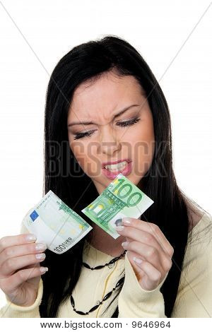 Woman With Half A Euro Banknote. Steuern.inflation.
