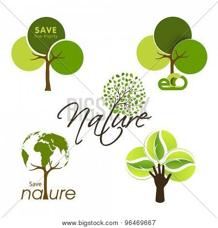 Set of green trees in different styles on shiny background for Save Nature concept.