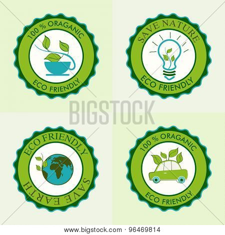 Set of creative sticker or label design for Save Earth and Nature concept.