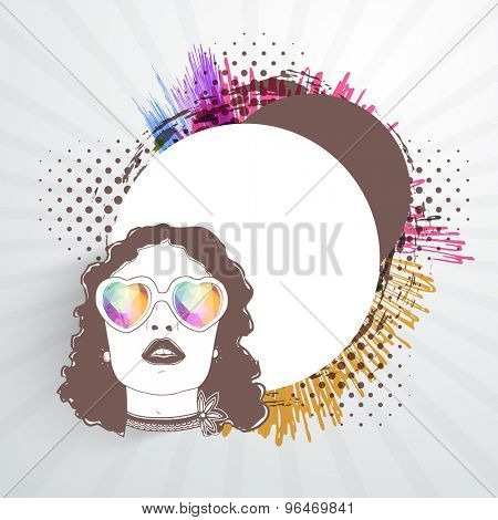 Retro young girl with heart shaped pink sunglasses and space for your message vintage background.