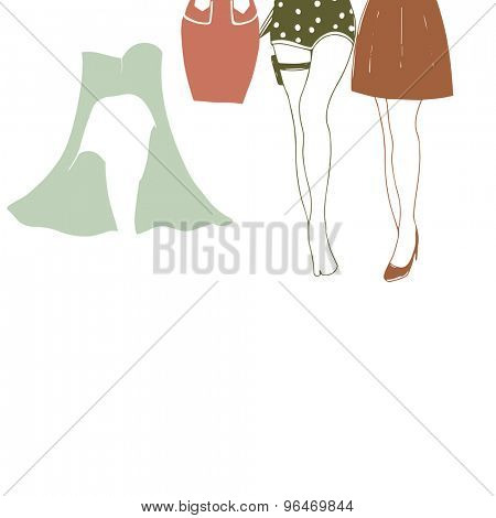Young fashionable girls with dress for Retro fashion collection on white background.
