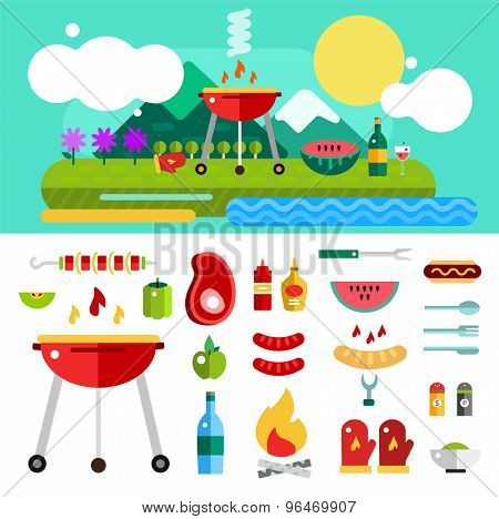 Barbecue and Food Outdoor. Vector Objects set. Outdoor, Kitchen or Meat symbols. Stock design elements