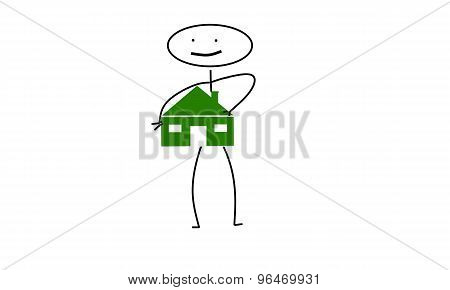 stick man carrying house