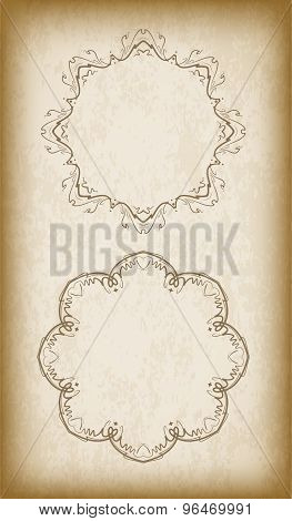 Pair Of Vintage Background With Round Frame And Copyspace.